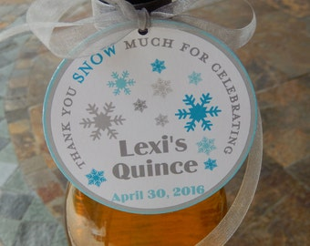 """40 Quince Birthday 3"""" Favor Tags - Thank you SNOW Much - for Wine or Champagne Bottles - Quinceañera Gift Favor Tags - Personalized Tags"""