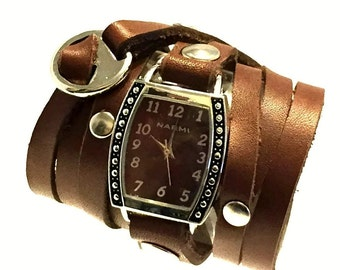 Brown Wrap Watch / Leather Wrap Around Watch / Leather Wrap Watch / Brown Watch / Women's Watch / Brown Watch Face