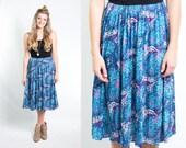 Vintage Blue Pink Paisley Floral Print Gathered Elastic Waist Full Skirt Size Large