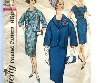 60s Simplicity 3832 Slim Sheath Dress, Raglan Sleeves, Lace Inset and Cropped Jacket Size 12 Bust 32