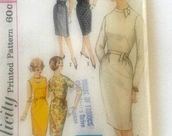 60s Simplicity 4518 Sheath Dress High Neckline, Sleeve Variations Size 14 Bust 34
