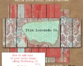 DIY Social Media Kit includes cover image, three digital papers, and BONUS PicMonkey tutorial distressed fence wood damask Commercial use OK