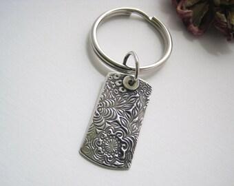 Fine Silver Floral Keychain