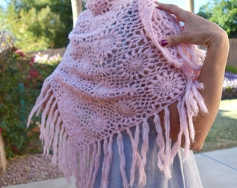 Vintage crochet shawl with fringe pink gold sparkle delicate romantic lace wrap