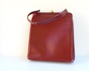 Vintage leather purse Dofan France maroon retro