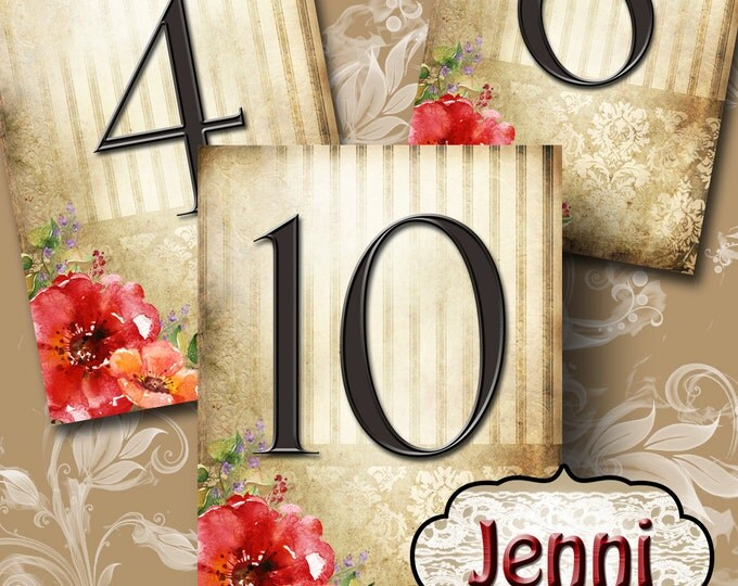 JENNI•Wedding Table Number•5x7•Printable•Weddings•Parties•Bridal Shower•Baby Shower•Seating Numbers•Wedding Decoration
