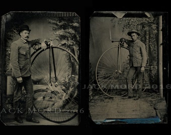 Two Excellent & Rare Penny Farthing Bicycle Tintypes PLUS BONUS TINTYPE