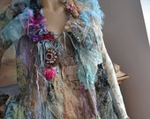 RESERVED  For Margie  Delicate Romantic Silk Floaty Transparent Jacket TURQUOISE BUTTERFLy Antoinette Cinderella Antique Textiles Tattered