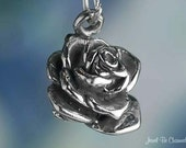 Rose Charm Solid Sterling Silver Roses for Mom Garden Flowers 3D .925