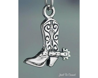 Sterling Silver Cowboy Boot Charm Spur Western Horse Riding Solid .925