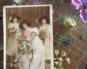 Tinted Real Photo Postcard - Twenties Wedding - Great Gatsby Style - Bride - Rose Bouquets