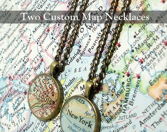 Pair Of Sisters Map Necklaces. You Pick Two Cities. Worldwide. Two Necklaces. Map Pendant. Map Jewelry. Personalized. Friendship. Gifts.