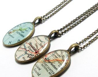 CUSTOM Vintage Map Oval Necklace. You Select Location. Anywhere In The World. One Necklace. Map Pendant. Map Jewelry. Travel Necklace.