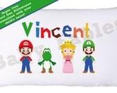 Personalized Pillowcase, Video Game, Mario, Yoshi, Luigi, Little Boys Pillow, Video Game Pillow case, Room Decor, Child's Pillowcase