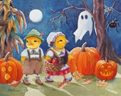 Halloween Print Baby Chicks Hansel and Gretel Chicken Decor 8x10 Wall Art by Janet Zeh