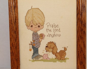 Completed Precious Moments Cross Stitch Framed Wall Hanging- Praise the Lord Anyhow  8x10