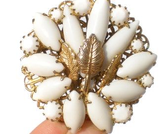 Vintage Jewelry Milk Glass Rhinestone Brooch with Gold Tone Filigree Backdrop & Leaves