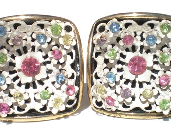 Pastel Rhinestone Clip On Earrings with White Enamel Metalwork on Square Brass Frame - Colorful Vintage Jewelry in Pink Blue Green Yellow