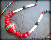 Tibetan Bead Necklace, Tribal Necklace, Red Coral Necklace, Genuine Turquoise Necklace, Lapis, African Jewelry, Ethnic Jewelry