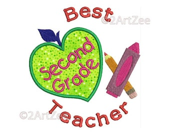 Second Grade Teacher Best Teacher Machine Embroidery Applique Design Apple Crayon Pencil Heart