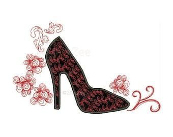 Fancy High Heel Shoe Applique Machine Embroidery and Design Mylar Glamor Diva Girl swirl woman Zentangle