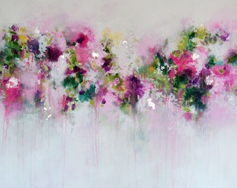 Pink Abstract Painting Print, Giclee Print from Painting, Wall Art, Abstract Print, pink white green art, abstract floral fine art print