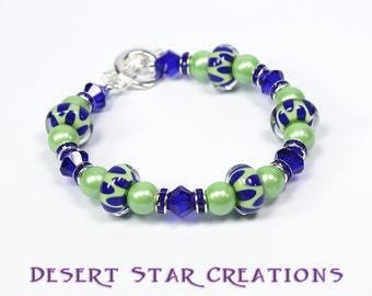 Green and Blue Lampork, Gemstone Crystal Bracelet, ArtGlass Beaded Bracelet, Cobalt Blue Lime Green Dotted Bracelet