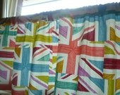 "Union Jack Curtain Valance Window Cafe Curtain, Multi Coloured Rod Pocket Ruched 54"" x 18"" 100% Cotton"