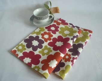 Summer Red Green Napkins 4 Funky Retro Floral Fabric Cloth Napkins Aubergine  washable ANY of MY DESIGNS