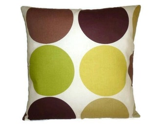 "Funky Retro Spots in Greens, Deep Plum Browns on Cream Designer Cushion Covers. Pillowcases, Shams, Slips ONE 16"" (40cm)"