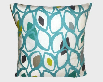 """Pillow Teal Blue Green Gray White 4 CHOICES Mix Match Designer Pillow Cushion Scatter Cover, Slip ONE 16"""" (40cm)"""