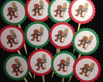 Cupcake Toppers  -- Christmas   --  NEW  --  One Dozen  --   (#1544)