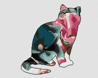 Instant Download,Free shipping,Counted Cross stitch pattern,Cross-Stitch PDF,magnolia flower cat,zxxc0713
