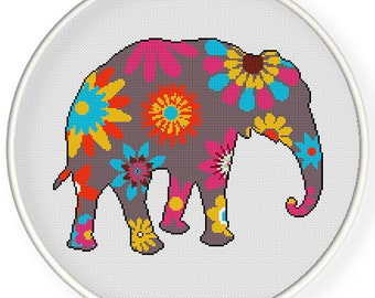 Instant Download,Free shipping,Counted Cross stitch pattern,Cross-Stitch PDF,flower elephant ,zxxc0902