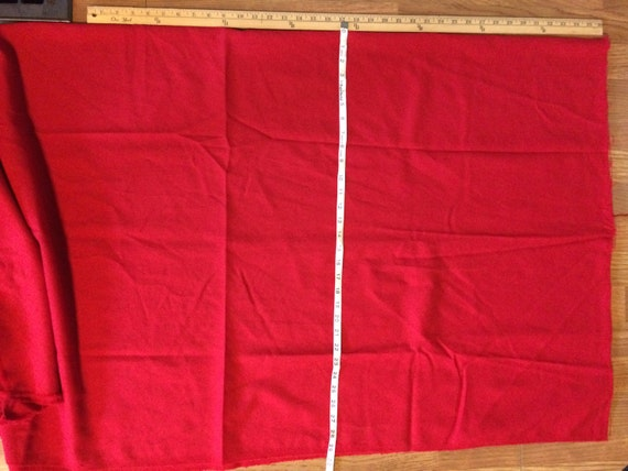 1 YARD Plus a few inches  Red Lightweight Wool Blend Material Fabric SCA for Pillows Crafts Christmas Stockings Sewing Rug Hooking F19