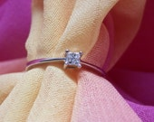 White Gold Princess Cut Diamond Engagement Ring  9kt 9ct Fully Hallmarked  Solitaire 0.10 ct Diamond  Vintage Slight yellow tint Diamond