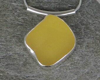 Bright Yellow Sea Glass Bezel Pendant Necklace