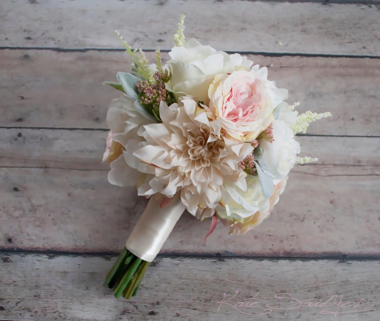 Blush Wedding Flowers: Blush Pink And Ivory Garden Rose Dahlia And Peony Wedding