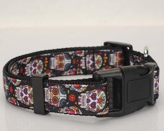 Handmade Sugar Skull Dog Collars Choke Collars Dog Supplies 26 -55 mm Length Choices
