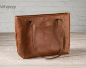 The Leather Tote Bag - Whiskey