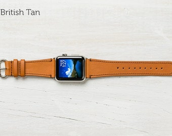The Classic Leather Band for Apple Watch Series 1 & 2 - British Tan with Steel 42mm