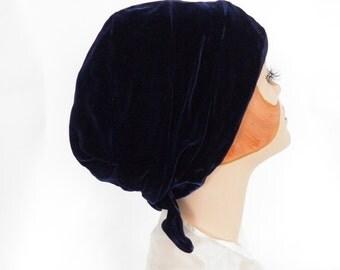 Vintage turban hat, navy blue velvet