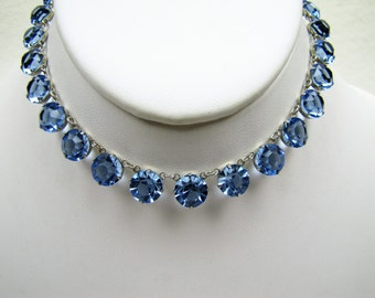 Art Deco Sterling Silver Czech Blue Topaz Crystal Necklace 1920s Antique Collar Choker Length Necklace. Art Deco Bridal Jewelry