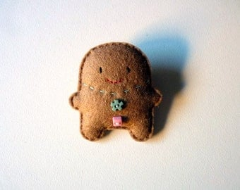 Gingerbread man felt brooch, Christmas character, holidays ornament, winter doll