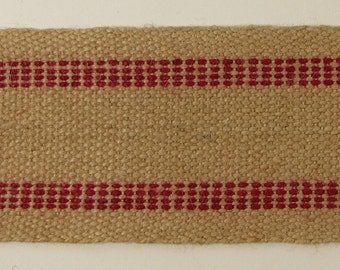 "Jute Webbing, Natural with Red Stripe, Sold by the Yard, 3.5"" Wide"