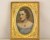 RESERVED for Diane: Antique Colored Opalotype Milk Glass Portrait of a Lady (Woman)