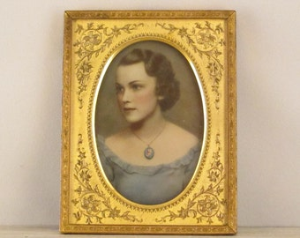 Antique Colored Opalotype Milk Glass Portrait of a Lady (Woman)