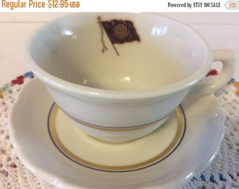 "Fall Sale Syracruse China Freemason Cup and Saucer ""Vitute Silemtio, Amore"" Purple Flag"