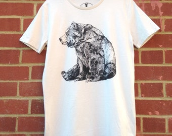 Bear | Screen Printed Organic T-shirt | 100% cotton | Vintage White | (ONLINE PRICE)