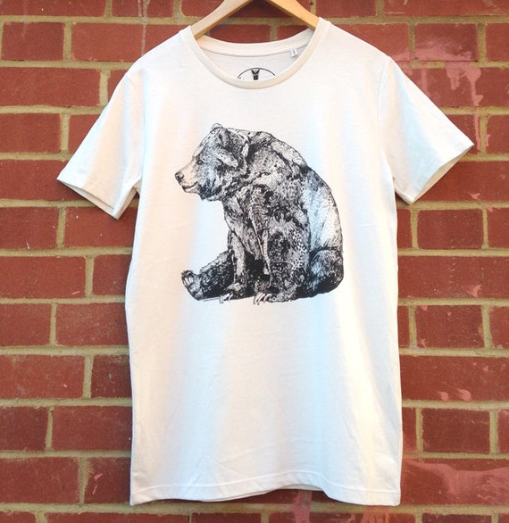 Bear screen printed organic t shirt 100 cotton vintage for Vintage screen print t shirts
